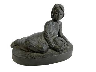 LOVELY RECLINING GIRL WITH PET FIGURINE