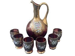 RUBY GLASS TREFOUCHE GOLD PITCHER 6 GLASSES SET