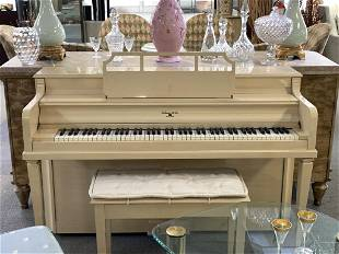 VINTAGE SOHMER CO CREAMCOLORED UPRIGHT PIANO