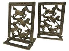 VINTAGE PAIR OF BRASS HORSE BOOKENDS