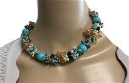 VINTAGE GORGEOUS TURQUOISE BEADED NECKLACE