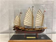 """WOOD SHIP MODEL IN DISPLAY CASE 15"""""""