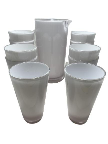 POTTERY BARN PITCHER & 9 DRINKING GLASSES