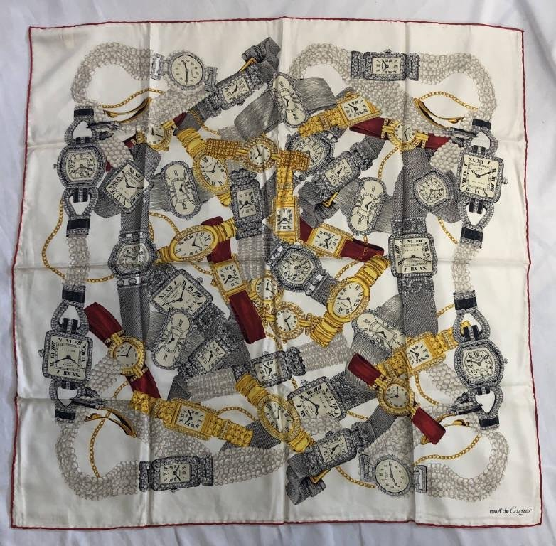 CARTIER RED, WHITE & YELLOW SILK SCARF