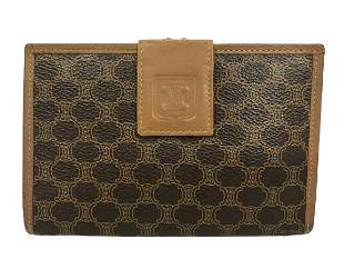 CELINE BROWN CANVAS FRENCH PURSE STYLE WALLET