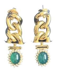 EMERALD AND DIAMOND 14K PIERCED EARRINGS