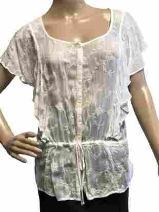 LUCKY BRAND WHITE SHEER EMBROIDERED TOP SIZE SMALL
