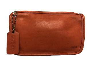 COACH ORANGE LEATHER COSMETIC POUCH