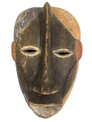 HAND CARVED PAINTED WOOD AFRICAN TRIBAL MASK 13