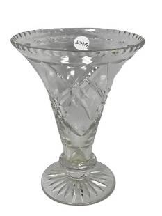 BOHEMIA LEAD GLASS CLEAR CUT HURRICANE VASE 7