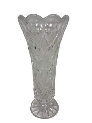 BOHEMIA LEAD GLASS CLEAR CUT VASE 10