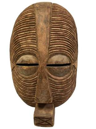 CARVED WOOD AFRICAN LUBA SHABA TRIBAL MASK 14