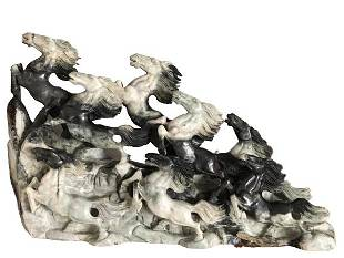 CARVED GREY GRANITE 3 DIMENSIONAL HORSE STATUE 45