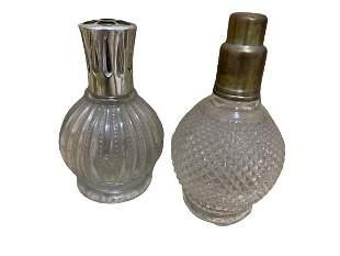 VINTAGE PAIR OF BERGER CUT GLASS OIL LAMPS