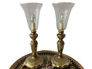 VINTAGE PAIR OF GOLD CANDLE LAMPS 17