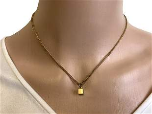 VINTAGE GOLDTONE NECKLACE WITH CUBE PENDNANT