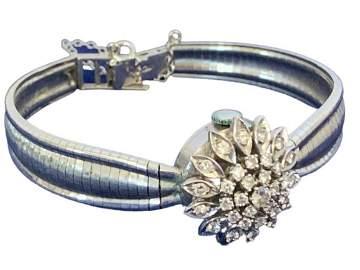 LA FEMME 14 K WHITE GOLD & DIAMOND WATCH BRACELET