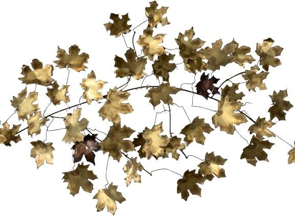"""MONUMENTAL CURTIS JERE """"LEAVES"""" WALL SCULPTURE 55"""""""