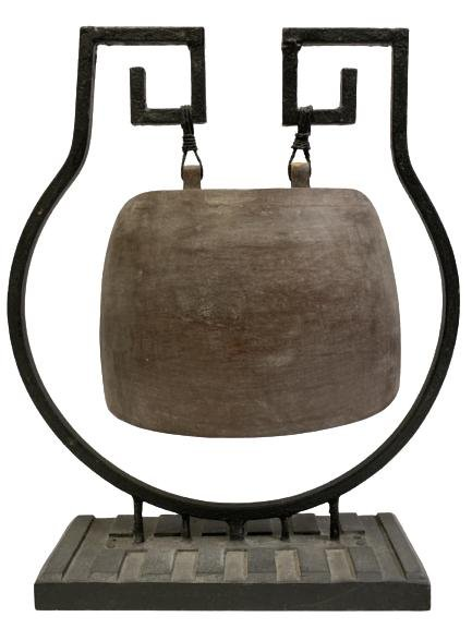 """ANTIQUE WOODEN BELL ON METAL STAND 19"""""""
