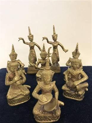 7 VINTAGE BRASS BUDDHIST FIGURINES AND DISPLAY