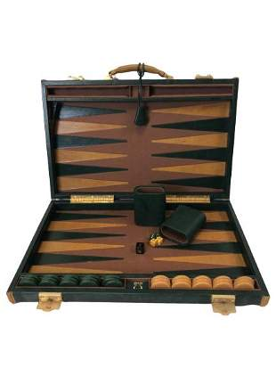 VINTAGE BACKGAMMON SET LEATHER CASE AND CUPS