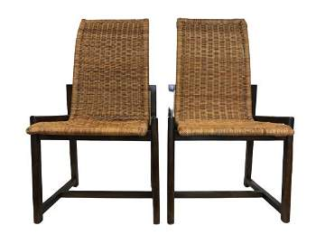 PAIR OF BAMBOO CHAIRS MANNER FRANK LLOYD WRIGHT