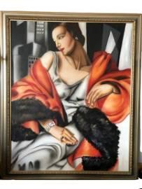 "ART DECO HUGE TAMARA DE LEMPICKA STYLE OIL CANVAS 68"""