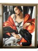 ART DECO HUGE TAMARA DE LEMPICKA STYLE OIL CANVAS 68