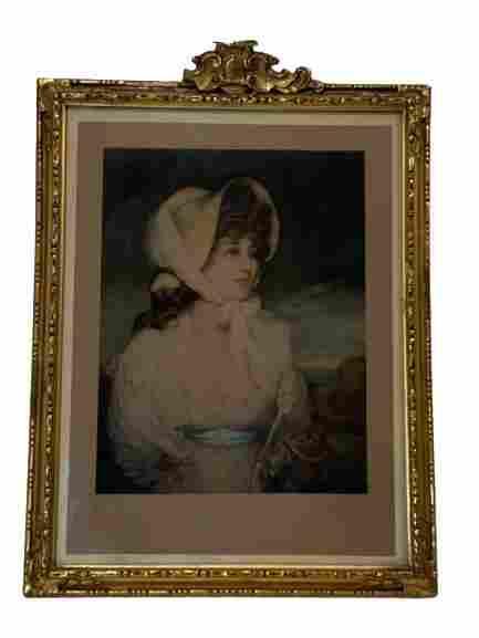 "1909 KLACKNER MEZZOTINT ENGRAVING OF A WOMAN 16"""