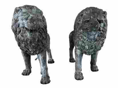 PAIR LIFESIZE BRONZE STANDING LION SCULPTURES 3'