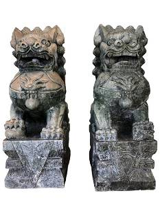 PAIR MONUMENTAL OUTDOOR STONE FOO DOG STATUES 4'