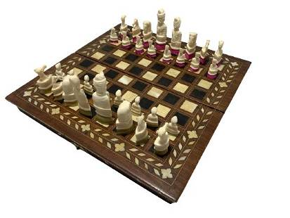 VINTAGE WOODEN PORTABLE CHESS SET W/ CARVED PIECES
