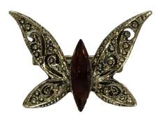 VTG GOLD BUTTERFLY PIN WAMBER COLORED STONE