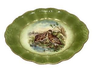VINTAGE PORCELAIN GREEN BIRD SERVING PLATE 1325