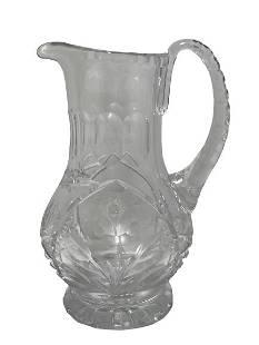 VINTAGE CUT GLASS PITCHER W ROSE DESIGN 9