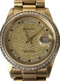 ROLEX 18K GOLD & DIAMOND DAY DATE  WATCH 144.7 G