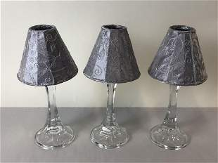 3 VTG GLASS CANDLE HOLDERS W SILVER SHADES 10