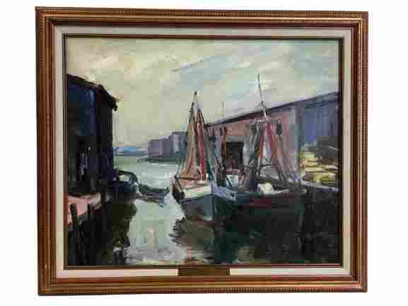 """EMILE GRUPPE MANNER OF """"WORKING TUGS"""" OIL PAINTING"""