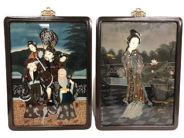 """2 VINTAGE CHINESE REVERSE GLASS PAINTINGS 23"""""""