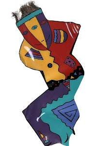 VINTAGE COLORFUL FIGURAL 80'S  WALL SCULPTURE 4'