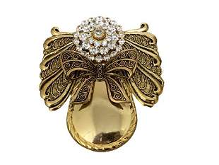 VINTAGE GOLD AND CRYSTAL PIN