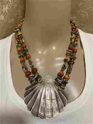 VINTAGE MULTICORED STONE AND SHELL NECKLACE