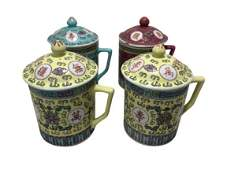 4 VTG ASIAN STYLE LIDDED TEA / COFFEE CUP MUGS