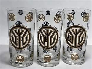 VTG ASIAN STYLE GOLD DETAIL BAR TUMBLER GLASSES