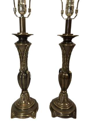 PAIR OF VINTAGE QUOIZEL BRASS LAMPS 22