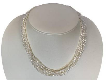 """VINTAGE 6 STRAND SEED PEARL NECKLACE 17"""""""
