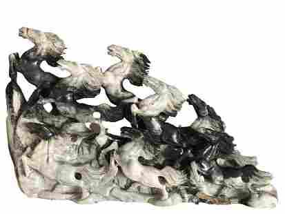 "CARVED GREY GRANITE 3 DIMENSIONAL HORSE STATUE 45"""