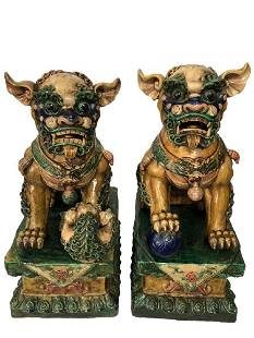 """EARLY 20TH C. COLORFUL GLAZED CERAMIC FOO DOGS 28"""""""