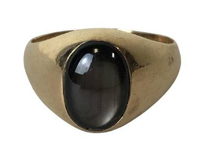 14K GOLD AND TIGERS EYE RING SIZE 9