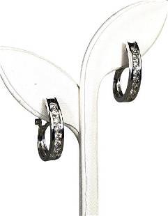 FABULOUS PAIR OF 14K DIAMOND HOOP EARRINGS